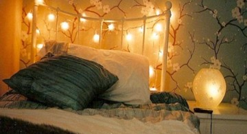 bedroom decoration for valentines day with romantic lights and plush comforter