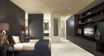 bedroom wall panel design ideas in glossy black