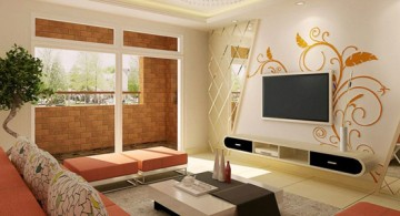 beige living room walls with decals