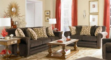 beige living room walls with retro cushions