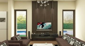 beige living room walls with unique chandelier