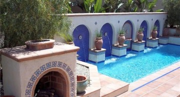 best backyard swimming pool designs with outdoor fireplace