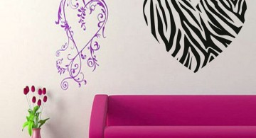big zebra heart pink and black wall decor