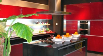 black and red lacquer kitchen cabinet