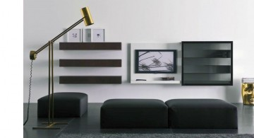 black separated tiers wall shelving units for living room