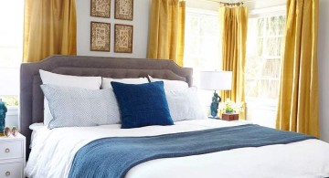 blue and white beddings and gold curtain blue and gold bedroom