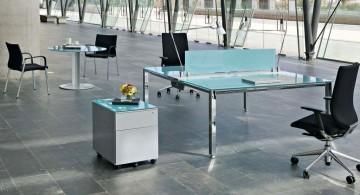 blue glass minimalist office furniture