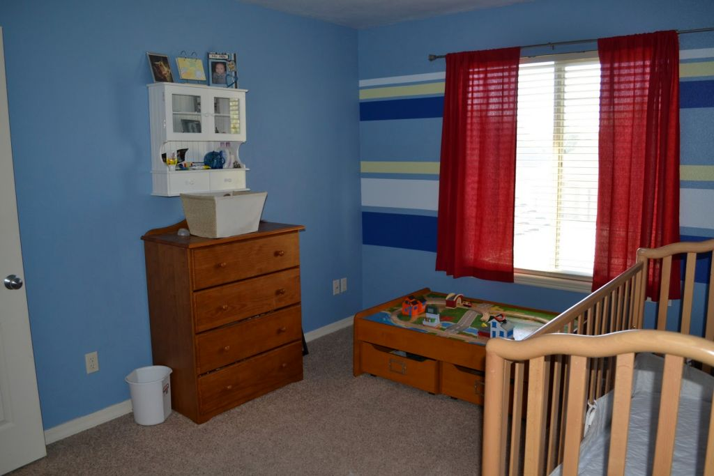 blue toned with blue stripes kids rooms paint ideas