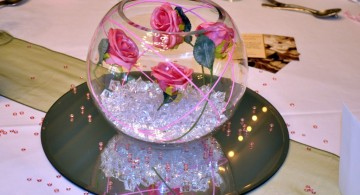 bowl centerpiece ideas with clear crystals and roses