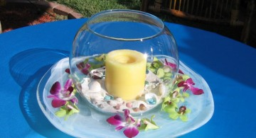 bowl centerpiece ideas with flower and big candle