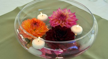 bowl centerpiece ideas with flowers and floating small candles