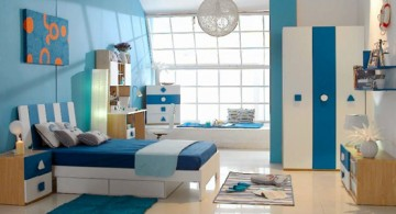 boys blue room with pendant lamp