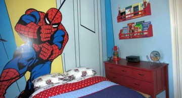 boys room paint ideas in blue with huge Spiderman murals