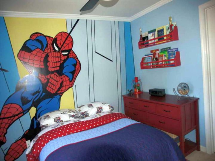 boys room paint ideas in blue with huge spiderman murals Boys Room Paint Ideas