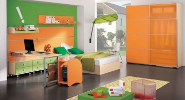 boys room paint ideas in bright orange and green