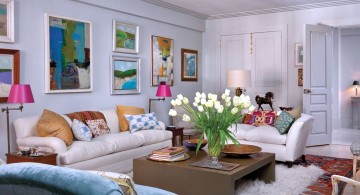 bright and colorful art deco living rooms
