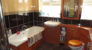 brown bathroom ideas in black and cream theme