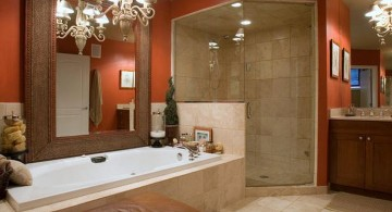 brown bathroom ideas with glamorous pendant light