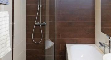brown bathroom ideas with glass shower door