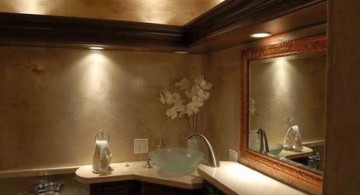 brown bathroom ideas with unique lighting