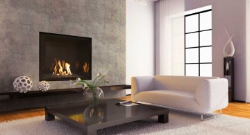 built in large modern fireplace designs with glass