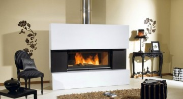 built in modern white fireplace design for a condo