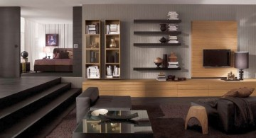 built in wooden panel wall shelving units for living room
