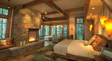 cabin bedroom decorating ideas with built in fireplace