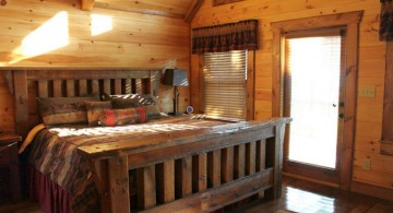 cabin bedroom decorating ideas with dark wood