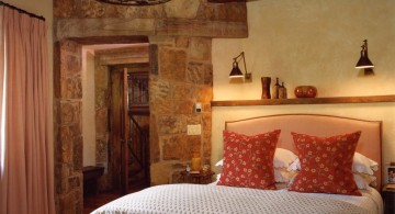 cabin bedroom decorating ideas  with vintage hanging lamp