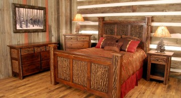 cabin bedroom decorating ideas with wood texture on bed