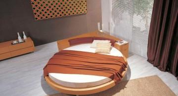 circular bed in earth tones