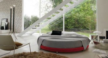 circular bed in grey and red