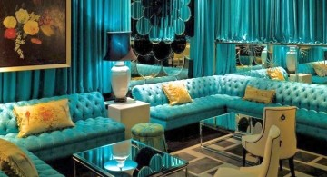 classy and glamorous turquoise living room