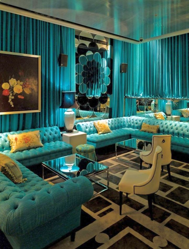 Cly And Glamorous Turquoise Living Room