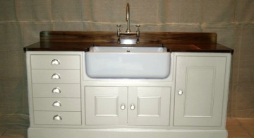 classy in white and varnished top stand alone kitchen sink