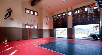 colorful garage plus indoor home basketball courts