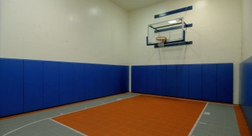 colorful indoor home basketball courts