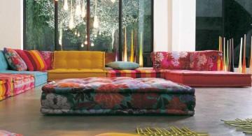 colorful wide modular sofas