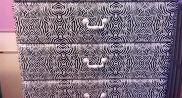 contact paper furniture in Zebra pattern