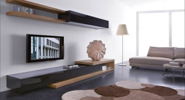 contemporary and sleek wall shelving units for living room