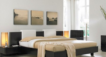 contemporary bedding ideas connected to floating nightstand