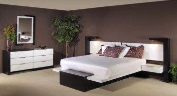 contemporary bedding ideas with wide headbed
