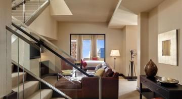 contemporary beige living room walls