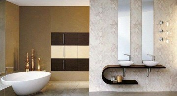 contemporary brown bathroom ideas with floating sink