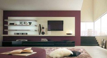 contemporary built in wall shelving units for living room