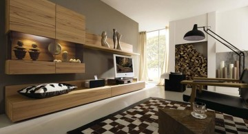 contemporary earth tone living room with checkered rug