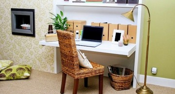 contemporary home office design ideas for small spaces with rattan chair
