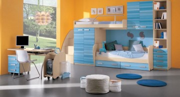 contemporary kids rooms paint ideas in blue and orange