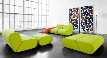 contemporary modular sofas in Japanese inspired room